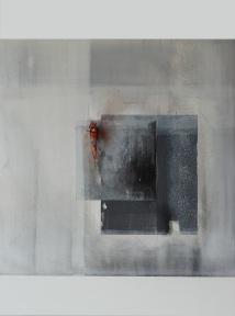 impulsiv I, 80 x 60 cm, Acryl, Kreide auf Leinwand