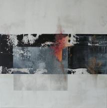 Passage l, 60 x 60 cm, Acryl, Kreide, Graphit auf Leinwand