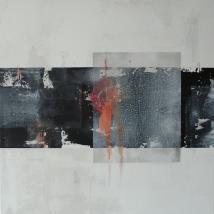 Passage ll, 60 x 60 cm, Acryl, Kreide, Graphit auf Leinwand